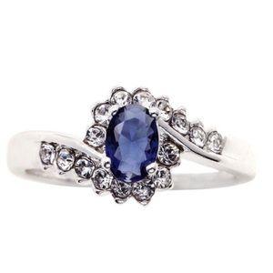 City x City Blue Sapphire Oval Diamond Ring   NEW